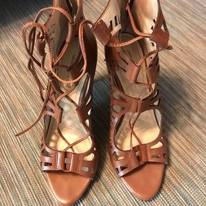 BCBG Generation Lace Up Brown Gladiator Heels
